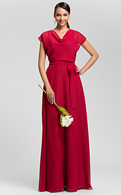 Sheath/Column Cowl Floor-length Chiffon Bridesmaid Dress