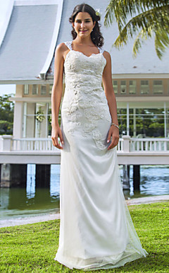 Sheath/Column V-neck Floor-length Tulle And Lace Wedding Dress
