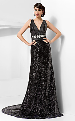Sheath/Column V-neck Court Train Sequined Evening Dress