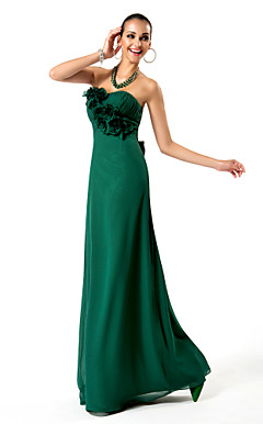 Sheath/Column Strapless Floor-length Chiffon Evening Dress