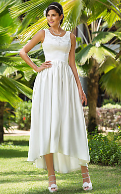 A-line Scoop Asymmetrical Satin Wedding Dress