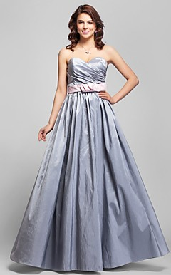 A-line Spaghetti Straps Floor-length Taffeta Bridesmaid Dress