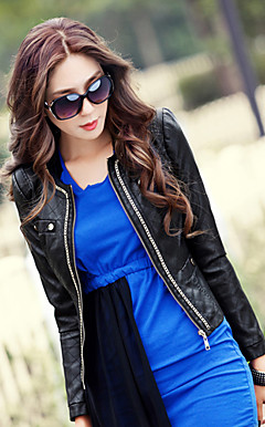 Long Sleeve Collarless PU Casual/Party Jacket