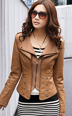 Long Sleeve permanent Collar PU Casual / Parti Jacket (plus de couleurs)