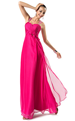 Sheath/Column Straps Floor-length Chiffon Evening Dress