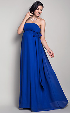 Sheath/Column Strapless Floor-length Chiffon Maternity Bridesmaid Dress