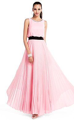 A-line Jewel Floor-length Chiffon Evening Dress