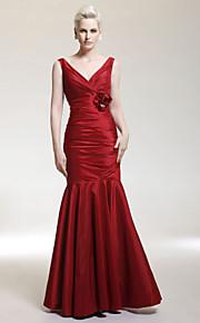 Trumpet/ Mermaid V-neck Floor-length Taffeta Evening Dress