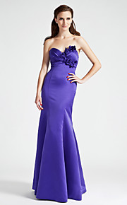 Trumpet/Mermaid Sweetheart Floor-length Satin Bridesmaid Dress
