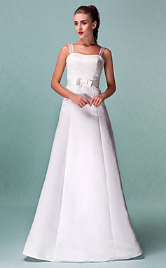 الجملة الجملة [XmasSale]الأميرة ألف خط الطابق طول الساتان مع فستان الزفاف القوس