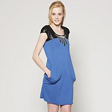 venta al por mayor hombro superior de la PU de cuentas vestido de cuello manga corta / vestidos de las mujeres (ss-d-cc1260001)