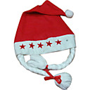 Deluxe Non-woven Christmas Red Hat with Braids and lights (FS012)(Start From 50 Units)Free Shipping