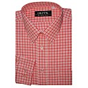 Top Grade Men's Long Sleeve Gingham Wrinkle Dress Shirt (QRJ007-5) -Free Shipping by Air Mail