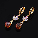 Fashion Yellow Gold Multi-Gemstone Drop Flower Earrings (ERS018-Garnet) (Start From 3 Units)