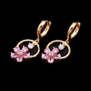 Stylish Shining Pink CZ Earring in 18K Gold Plated - CZ Earring SLX-0004(E) (SZY238)