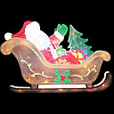 Double Faced Mesh Silhouette 2D Santa on Sleigh Christmas Light (SDQ328)