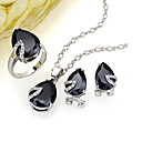 Dazzling Heart Shape CZ Pendant + Earring + Ring Set - Cubic Zirconia Set 81012-60 Black (SZY1024)