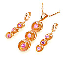 18K Gold Plated Fruits Earring And Necklace Set - Cubic Zirconia Set SYX-0261 Pink (SZY1026)
