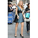 Blake Lively A-line V-neck Short/Mini Chiffon Cocktail/Homecoming/Gossip Girl Fashion Dress (FSH0040)