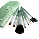 5 Sets Mixed Hair Cosmetic Brush Setes With Light Green Leather Case