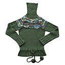 High Neck Intarsia Wool Top Women's Sweater (GX006)