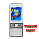 N68 Quad Band Dual Card Transparent Crystal Keyboard Bluetooth Touch Screen FM Cell Phone White (2GB TF Card and Woven Bag)