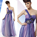 A-line One Shoulder Sweep / Brush Train Elastic Silk-like Satin Tulle Dress On Sale / Evening Dress (OFGC0139)