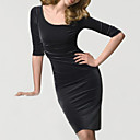 Three-quarter Sleeves Scoop Neck Velvet Little Black Dress Women's Dresses(0104AK004-0683)
