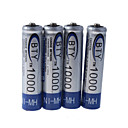 BTY 1000mAh Ni-MH oplaadbare AAA-batterijen (4-pack)