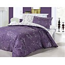 4-pc Queen Size Purple Love Printing Cotton Full Size Duvet Cover Set  (0580-9S707009S)
