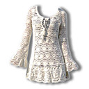 100%Handmade Crochet Round Neckline Lace Long Sleeves Women's Sweater Dresses (1002AL011-0744)