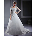 A-line Scalloped-Edge Neckline Court Train Satin Wedding Dress with Wrap