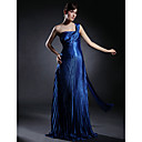 Sheath/ Column One Shoulder Floor-length Elastic Silk-like Satin Evening Dress (FSH0496)