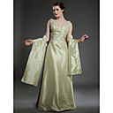 A-line V-neck Floor-length Taffeta Mother of the Bride Dress With A Wrap