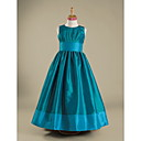 A-line Jewel Floor-length Taffeta Junior Bridesmaid Dress