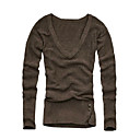 Wool Long Sleeves V Neckline Bottons Closured Hem Pullover / Women's Sweaters (1001BB002-0739)