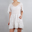 100%Handmade Crochet Short Sleeves Women's Sweater Dresses (1003BC002-0744)