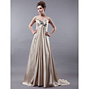 A-line Empire Spaghetti Straps Sweep/ Brush Train Satin Wedding Dress