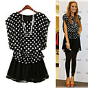 Dot Patterns Round Neckline Short Sleeves Dress / Women's Dresses (1802BD002-0857)