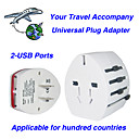 All in One Universal Travel Adapter with Dual USB Ports (QW080)