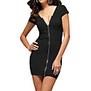 Front Zippers Deep V Neckline Short Sleeves Dress / Women's Dresses  (FF-1801BE100-0859)