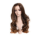 Hand Tied Style Lace Front Extra Long High Quality Synthetic Natural Look Dark Brown With Golden Brown Curly Hair Wig