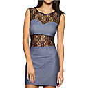 Perspective Lace Round Neckline Sleeveless Dress / Women's Dresses (FF-1801BF029-0789)