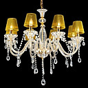 abajur amarelo candelabro de cristal da vela 8-luz k9 (0944-hh11016)