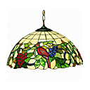 Tiffany Style 2-Light Pendant Light With Grape and bird Pattern