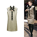 FASHION IDOLS Style / Button Decorated Bows Stand Collar Sleeveless Dress / Women's Dresses (FF-1802BG003-0736)