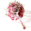 Elegant Dark Pink Silk Rose And Lily With Chiffon Decoration Round Wedding Bouquet/ Bridal Bouquet