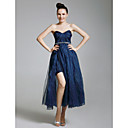 Tulle Organza A-line Sweetheart Tea-length Evening Dress