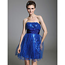 A-line Strapless Short/ Mini Sleeveless Stretch Satin/ Tulle/ Sequined Fabric Cocktail Dress
