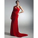 Sheath/ Column One Shoulder Sweep Train Chiffon Satin Evening Dress inspired by Natalie Mark at Golden Globe